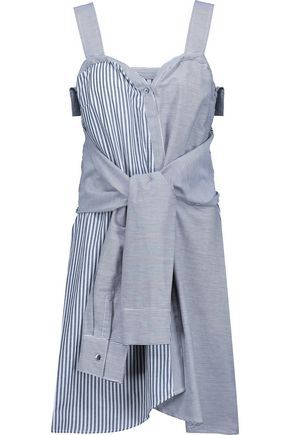 10 CROSBY DEREK LAM Tie-front paneled striped cotton mini dress