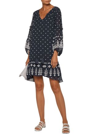 DEREK LAM 10 CROSBY Lace-up ruffled broderie anglaise cotton mini dress