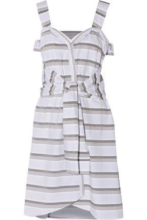 DEREK LAM 10 CROSBY Tie-front striped cotton mini dress