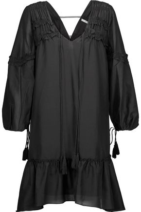 DEREK LAM 10 CROSBY Lace-up ruffled cotton and silk-blend broadcloth mini dress