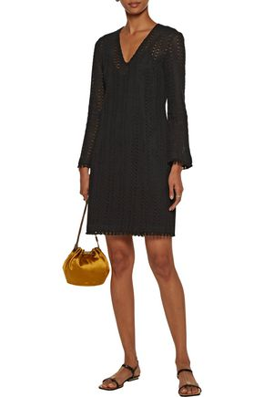 10 CROSBY DEREK LAM Fringed crocheted cotton-blend mini dress