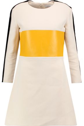 CARVEN Faux leather-paneled crepe mini dress