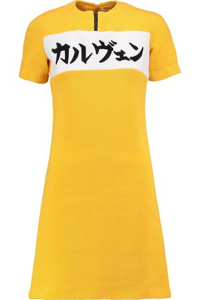 CARVEN Waffle-knit cotton-blend mini dress