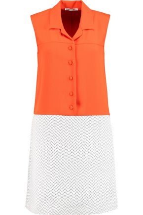 CARVEN Crepe and cotton-blend jacquard mini dress