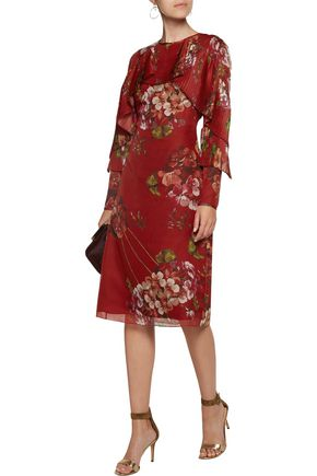 MIKAEL AGHAL Pleated floral-print chiffon dress