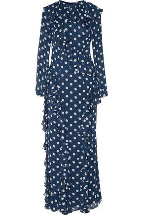 MIKAEL AGHAL Ruffle-trimmed polka-dot chiffon maxi dress
