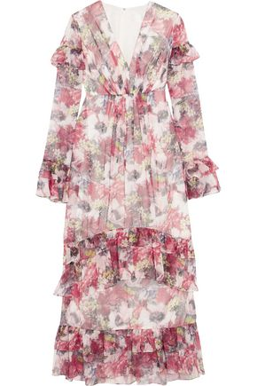 MIKAEL AGHAL Ruffled floral-print chiffon maxi dress
