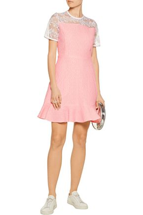 CARVEN Embroidered organza-paneled cloqué mini dress