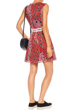 CARVEN Grosgrain-trimmed printed cotton-gauze mini dress