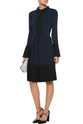 MIKAEL AGHAL Pleated two-tone crepe de chine dress