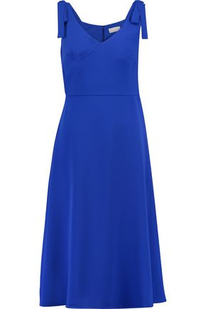 MIKAEL AGHAL Tie-shoulder satin midi dress
