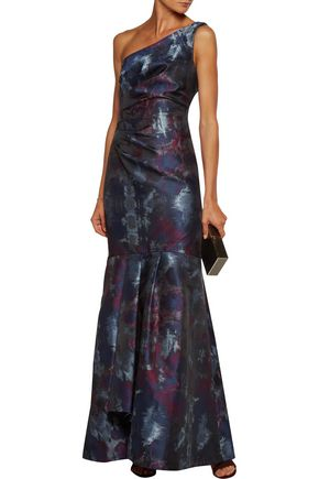 MIKAEL AGHAL One-shoulder gathered jacquard gown