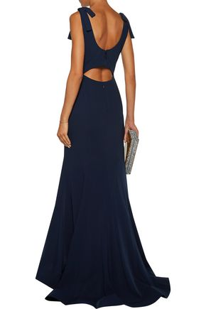 MIKAEL AGHAL Bow-embellished fluted cady gown