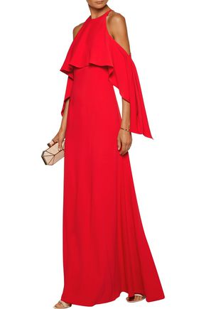 MIKAEL AGHAL Cold-shoulder draped cady gown