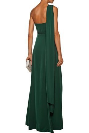 MIKAEL AGHAL One-shoulder draped cady gown