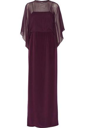 MIKAEL AGHAL Silk chiffon-paneled silk-satin gown