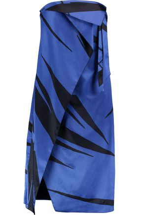 HALSTON HERITAGE Strapless wrap-effect printed satin dress