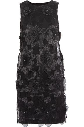 BADGLEY MISCHKA Embellished organza-paneled twill mini dress