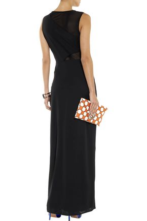 HALSTON HERITAGE Stretch mesh-paneled crepe gown