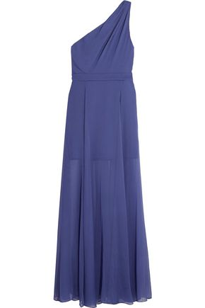 HALSTON HERITAGE One-shoulder pleated chiffon gown