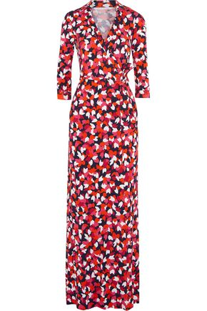 DIANE VON FURSTENBERG Abigail printed cotton and silk-blend maxi wrap  dress