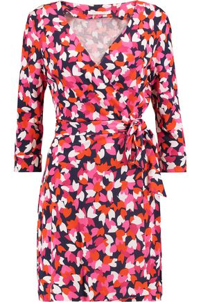 DIANE VON FURSTENBERG New Julian printed cotton and silk-blend mini wrap dress