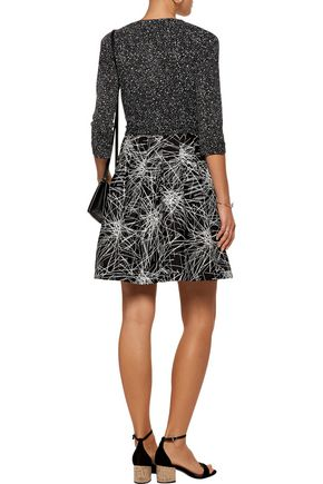 DIANE VON FURSTENBERG Printed wool and silk-blend  wrap mini dress
