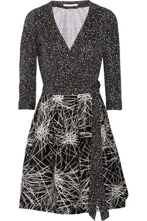 DIANE VON FURSTENBERG Jewel wool and silk-blend and printed cotton and silk-blend wrap mini dress