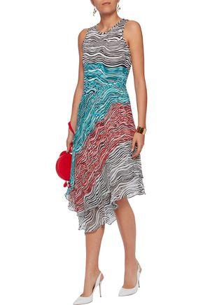 DIANE VON FURSTENBERG Asymmetric printed silk-jersey and chiffon midi dress