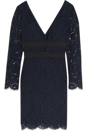 DIANE VON FURSTENBERG Viera crochet-paneled corded lace mini dress