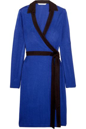 Diane Von Furstenberg Woman Jeannae Two-tone Stretch-knit Wrap Dress Cobalt Blue Size 8
