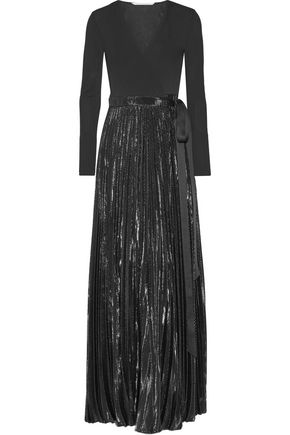 DIANE VON FURSTENBERG Heavyn pleated metallic stretch-crepe wrap maxi dress
