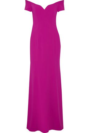 BADGLEY MISCHKA Off-the-shoulder stretch-cady gown