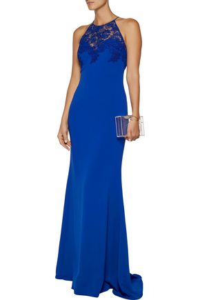 BADGLEY MISCHKA Corded lace-paneled cady gown