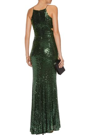 BADGLEY MISCHKA Cutout sequined tulle gown