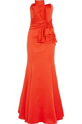 BADGLEY MISCHKA Gathered satin gown