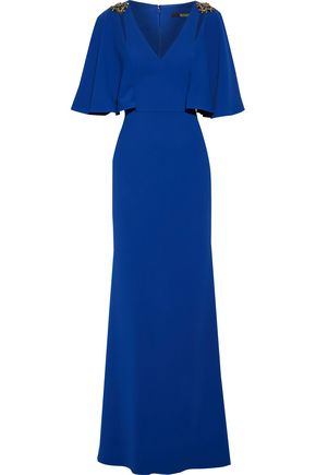 BADGLEY MISCHKA Draped embellished stretch-crepe gown