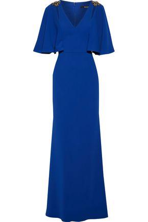 BADGLEY MISCHKA Fluted embellished stretch-cady gown