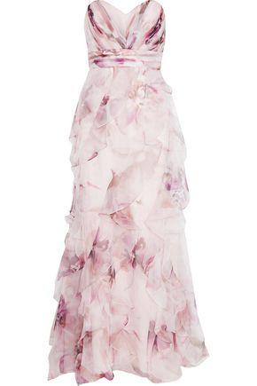 BADGLEY MISCHKA Ruffled floral-print silk-chiffon gown