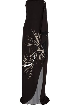 HALSTON HERITAGE Strapless draped printed chiffon gown