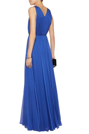 HALSTON HERITAGE Pleated chiffon gown