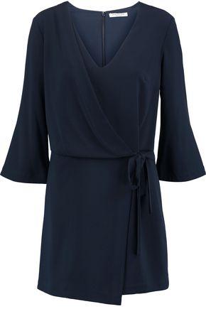 HALSTON HERITAGE Wrap-effect crepe mini dress