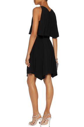 HALSTON HERITAGE Draped crepe de chine mini dress