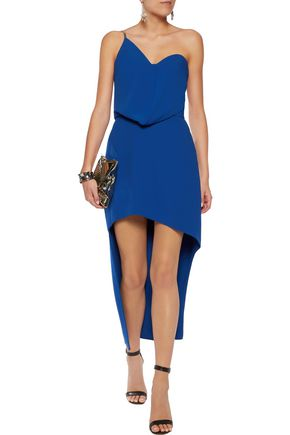HALSTON HERITAGE One-shoulder draped asymmetric crepe mini dress