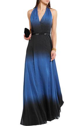 HALSTON HERITAGE Halterneck ombré chiffon gown
