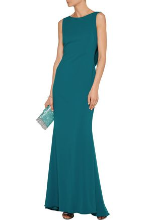 MARCHESA NOTTE Embellished tulle-paneled crepe gown