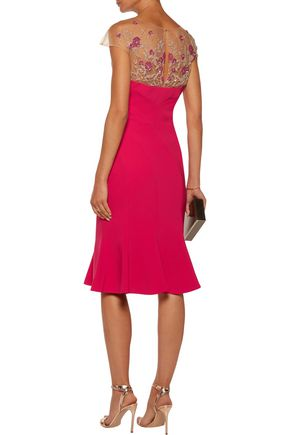 MARCHESA NOTTE Fluted embellished tulle-paneled stretch-crepe dress
