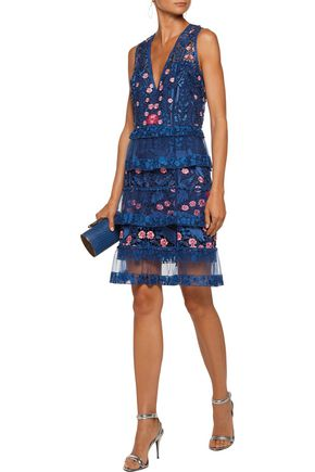 MARCHESA NOTTE Tiered tulle-paneled guipure lace dress