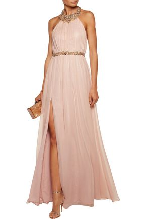 MARCHESA NOTTE Pleated embellished silk-chiffon halterneck gown