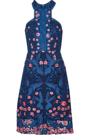 MARCHESA NOTTE Open knit-trimmed lace dress